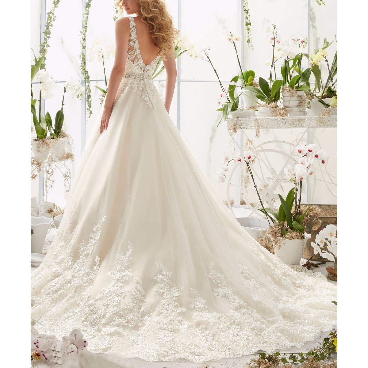 Lace Wedding Gown With Straps: OWMAN Lace V Neck Wedding Dress Beaded Bridal Dresses