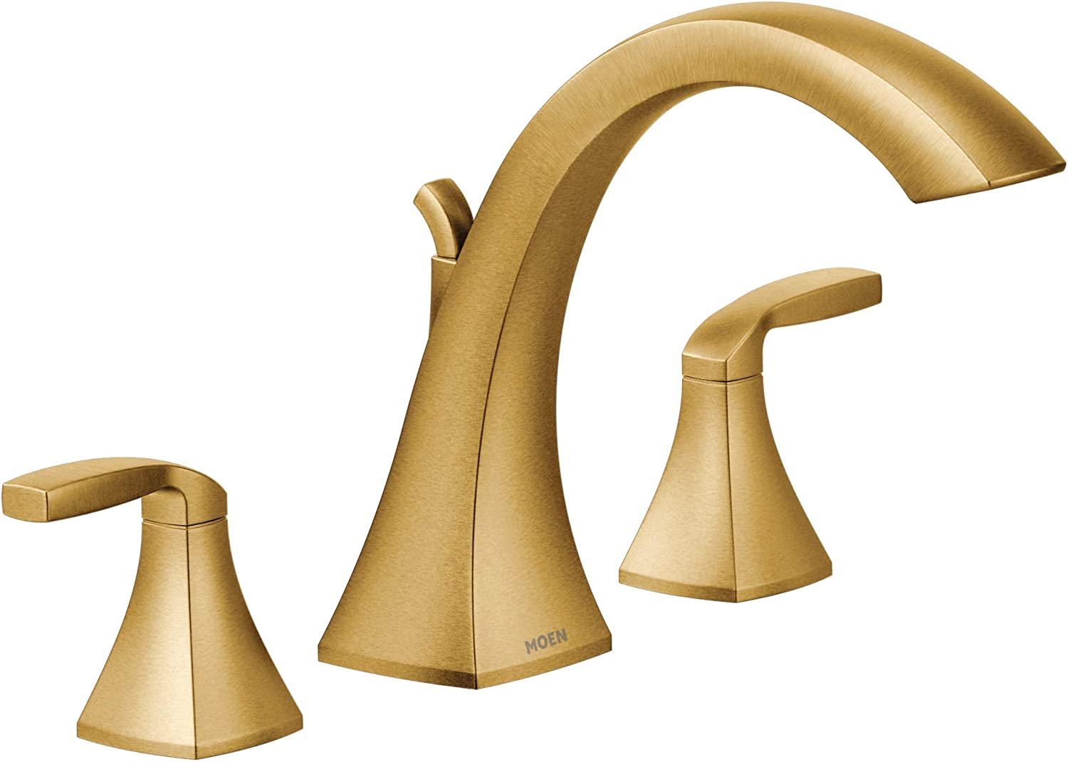 Moen T693BG Voss Two-Handle Deck Mount Roman Tub Faucet Trim Kit, Valve Required, Brushed Gold