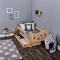 KAGU Chrisi Junior lit lit lit enfant jeunesse bois de pin (140x 70cm ou 160x 80cm). Bois MASSIF avec matelas et tiroir
