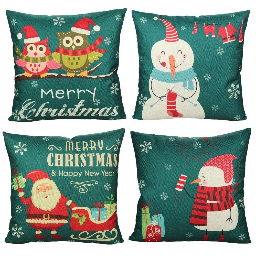 All Smiles Vintage Xmas Decor Snowman Throw Pillow Case Cushion Covers Owl Pillowcase Decorative Cotton Linen 18x18 for Retro Christmas Gifts Set of 4 2016ASC286Set4