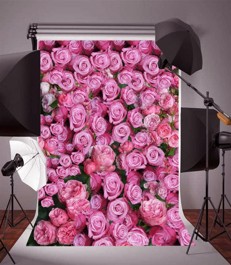 8x12 FT Vinyl Photography Backdrop,Pink Rose Close Up with Soft Blur Focus Fresh Fragrance Smell Love Valentines Day Background for Graduation Prom Dance Decor Photo Booth Studio Prop Banner