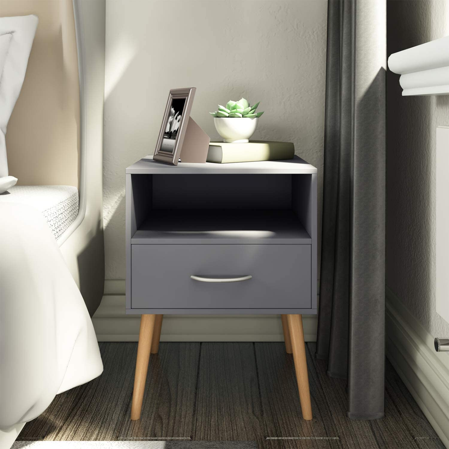 Joolihome Grey Wooden Bedside Table With Drawers&Silver Handle Scandinavian  Style 9 Tier Bedside Cabinet End Table Side Table Nightstand Bedroom