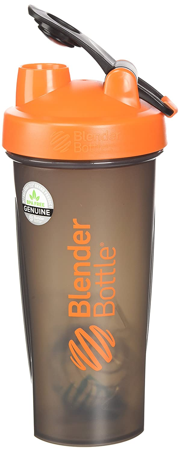 BlenderBottle Full Color Bottles - New Black Translucent Color with Shaker Ball - Orange - 28oz