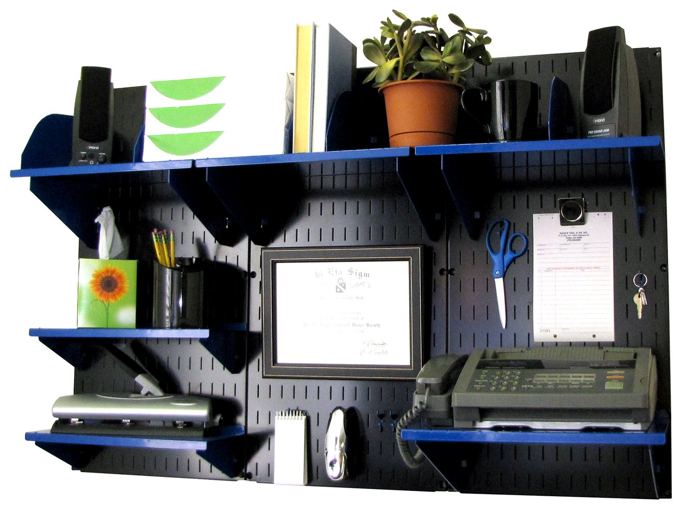 Wall Control Office Organizer Unit Wall Mounted Office Desk Storage and Organization Kit Black Wall Panels and Blue Accessories by Wall Control