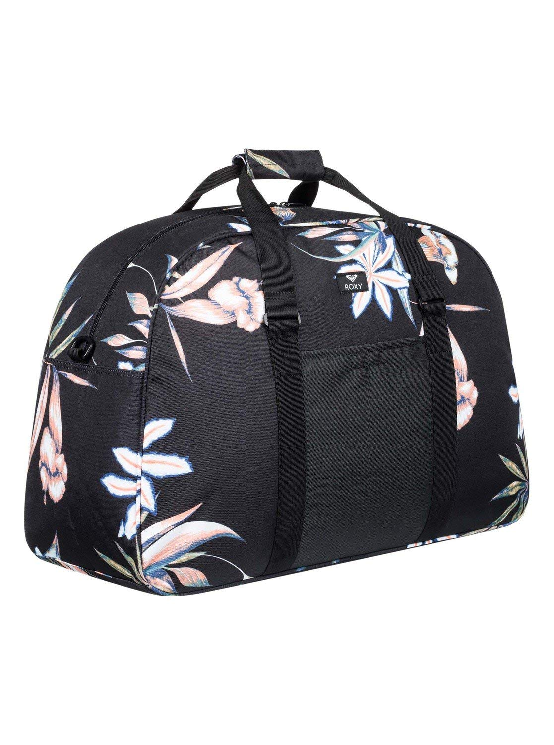 b3f763a54584d Amazon.com  Roxy Womens Feel Happy 40L - Large Sports Duffle Bag - Women -  One Size - Black True Black Delicate Flowers One Size  Sports   Outdoors