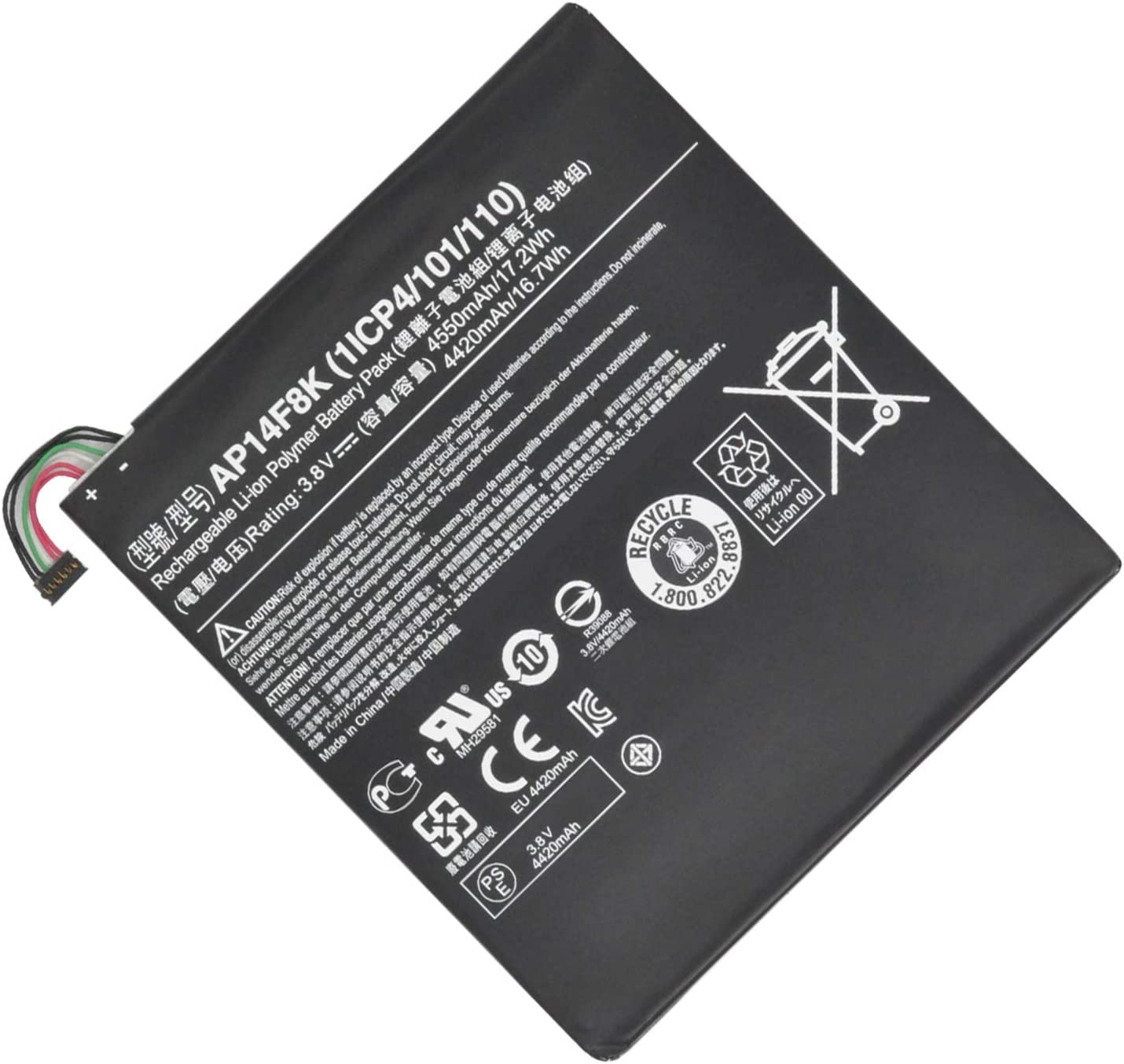 Hubei AP14F8K 1ICP4/101/110 Replacement Laptop Battery for Battery Acer Iconia Tab A1-850 B1-810 B1-820 W1-810 Series (3.8V 17.2Wh)