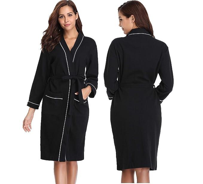 Vlazom Waffle Dressing Gowns Unisex Kimono Cotton Robe Lightweight Bathrobe  for All Seasons Spa Hotel Sleepwear  Amazon.co.uk  Clothing ec39a86d9