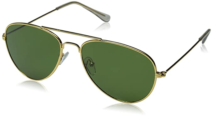 243bc949c8 Amazon.com  Aviator Sunglasses Classic Style Metal Gold Frame Green ...