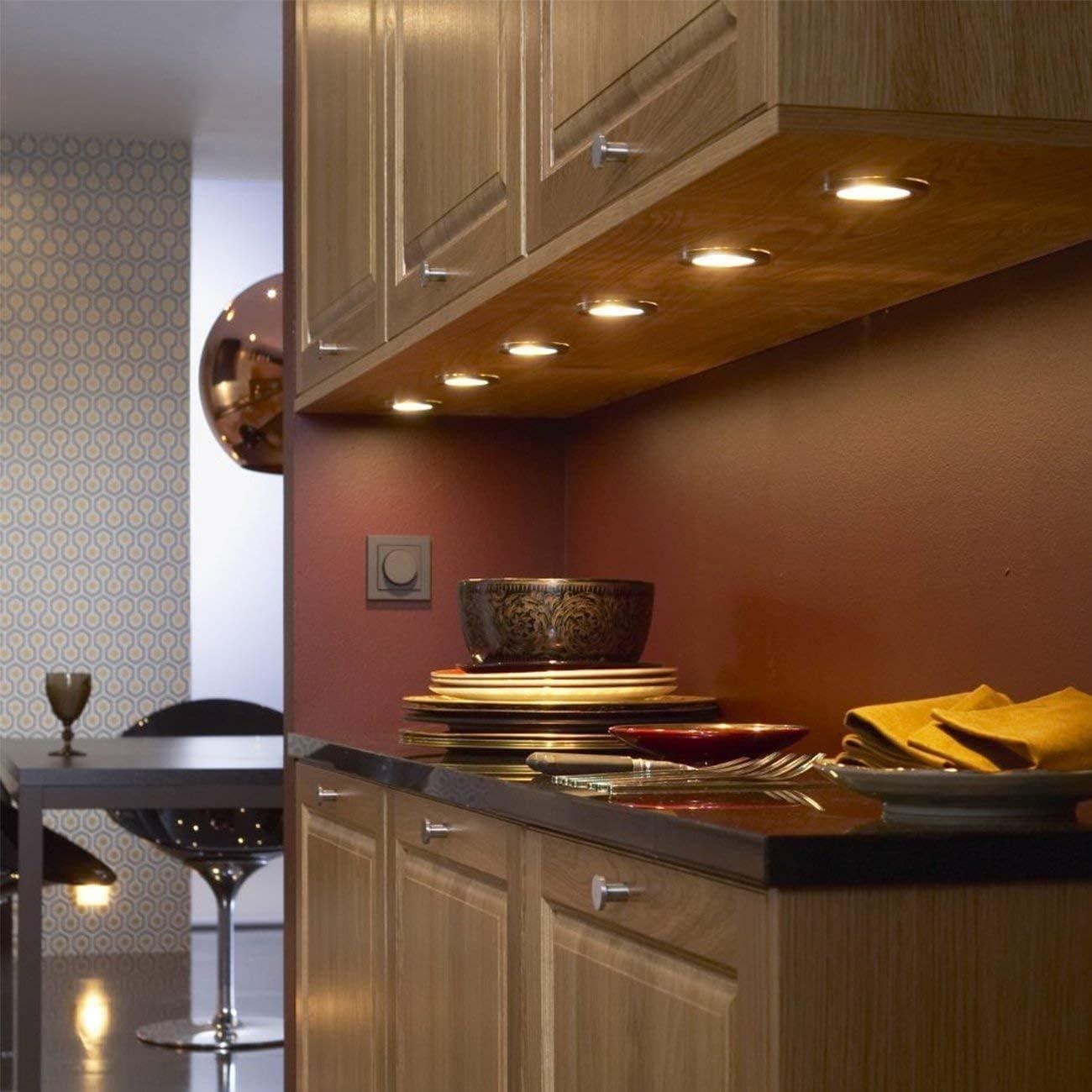 6pcs Bajo Luz de Gabinete Luz Mueble Cocina Techo Spot Luces con Adaptador de divisor para muebles DC 12V RV LED Luces de Armario Empotrable Campista ...