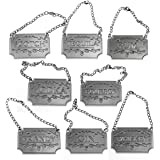 Silver Liquor Decanter Tags / Labels Set of Eight - Whiskey, Bourbon, Scotch, Gin, Rum, Vodka, Tequila and Brandy - Silver Colored - Adjustable Chain for the Perfect Fit (Silver)