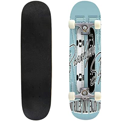 Classic Concave Skateboard Vintage Skateboarding Logotype with inscriptions and Broken Skate Longboard Maple Deck Extreme Sports and Outdoors Double Kick Trick for Beginners and Professionals : Sports & Outdoors