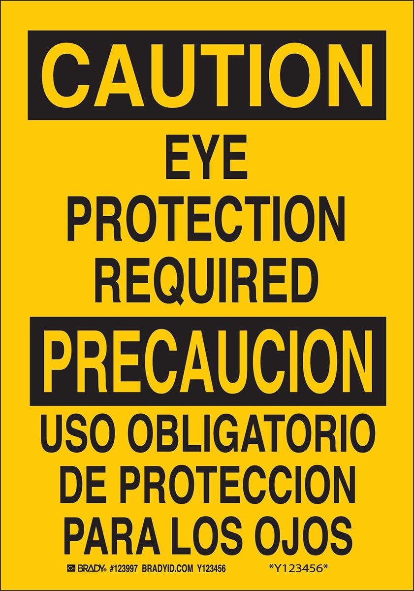 Brady 14'' X 10'' X .06'' Black On Yellow .0591'' B-401 Polystyrene Safety Sign''EYE PROTECTION REQUIRED/USO OBLIGATORIO DE PROTECCION PARA LOS OJOS''