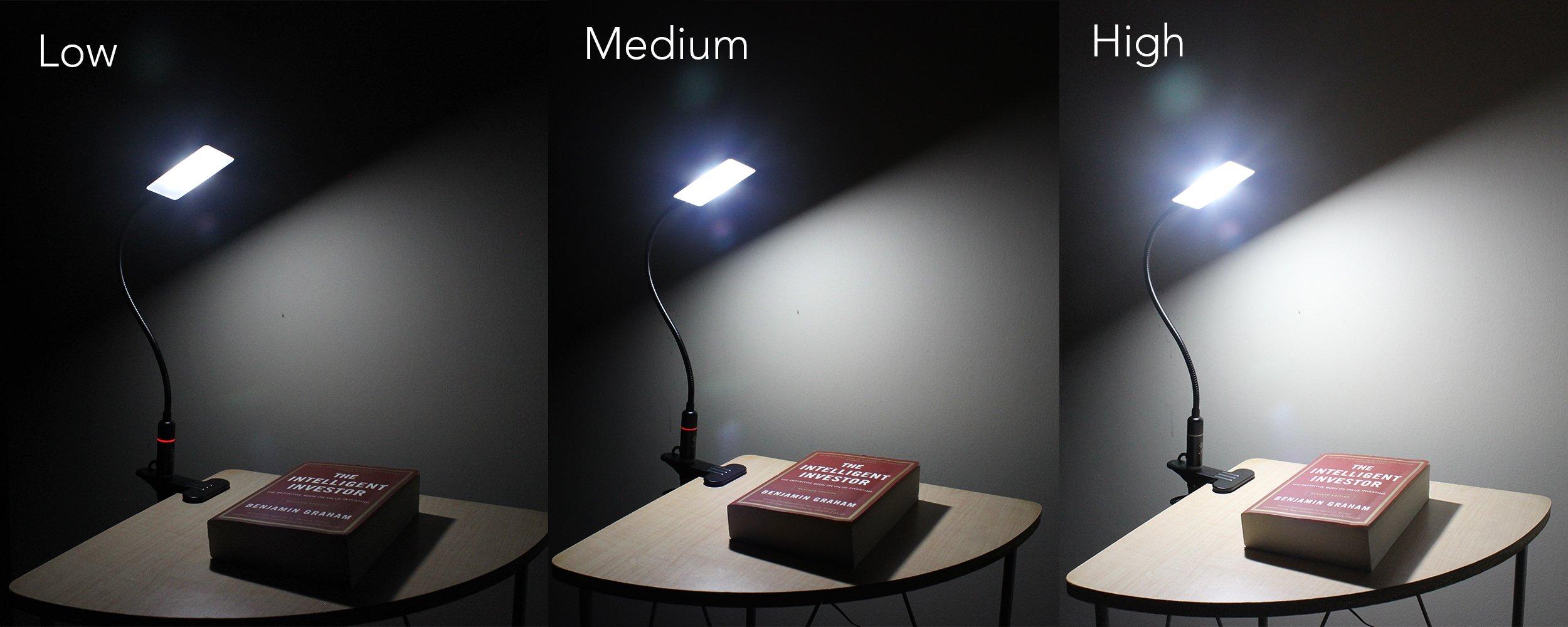 LED Clip Lamp – 3 Brightness Mode – Sensor Touch – USB Plug & Adapter – Black by EazyClips (Image #5)