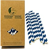 Biodegradable Drinking Straws, Navy Blue Swirl Retro Stripes Paper Straws for Sailors, Anchor Nautical Themed