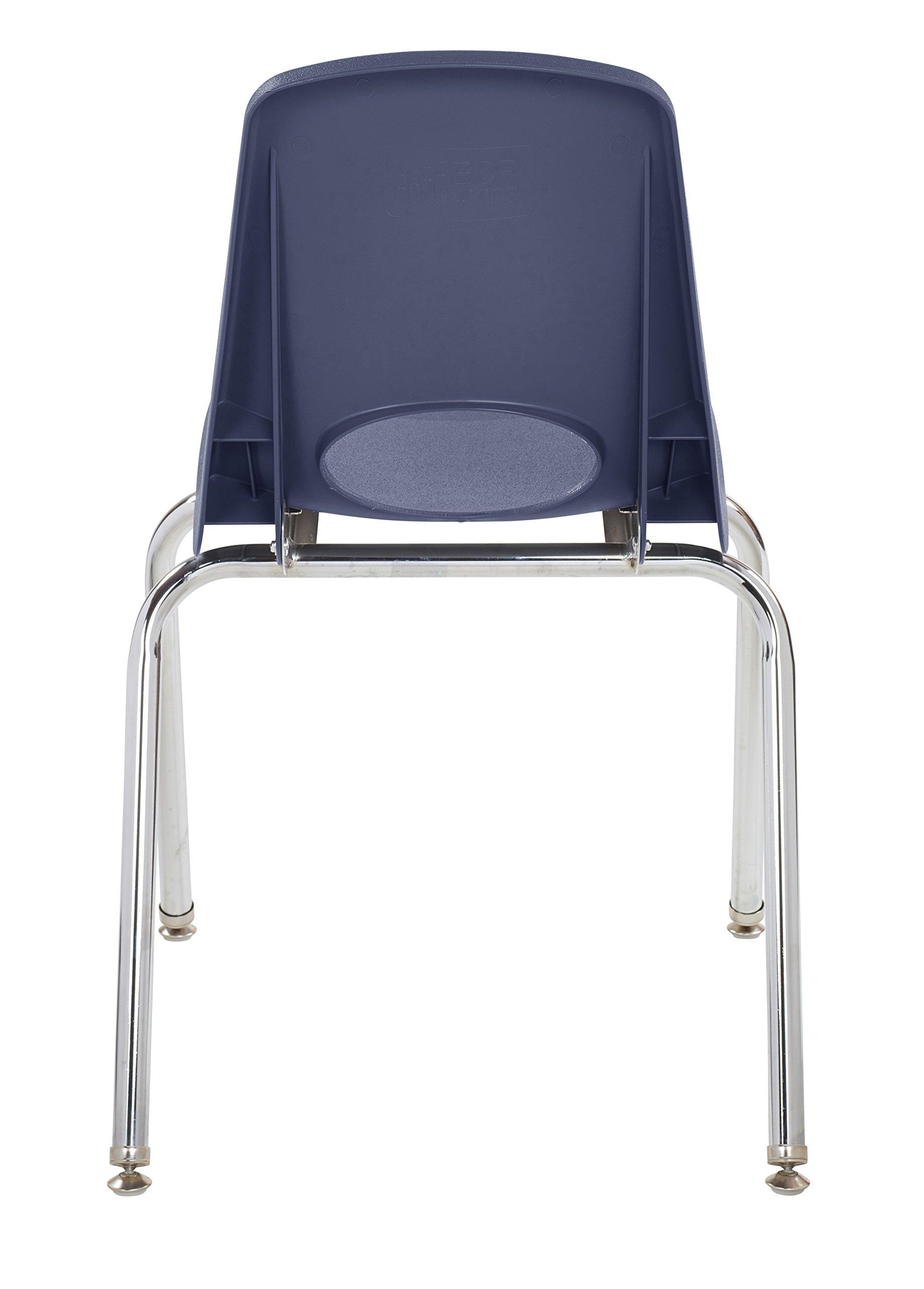 ECR4Kids 18'' School Stack Chair, Chrome Legs with Nylon Swivel Glides, Navy (5-Pack) by ECR4Kids (Image #5)
