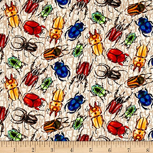 Fabri-Quilt You You Bug Me Multi Color Beetles Fabric by The Yard, Multicolor