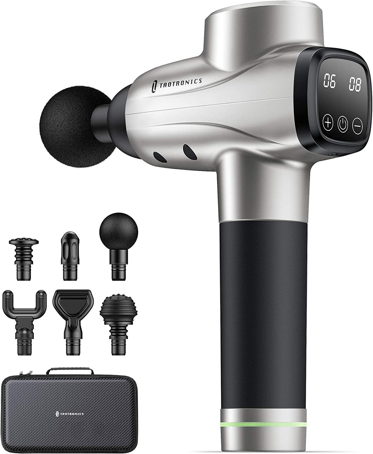 Massage Gun TaoTronics Professional Deep Tissue Muscle Massager Gun Percussion Handheld Electric Muscle Massager with 10 Speed Levels 6 Massage Heads for Gym Office Home Post-Workout Recovery Silver