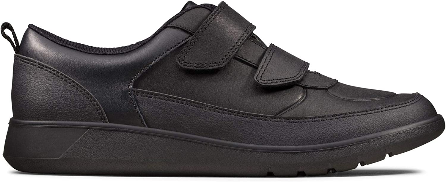 Clarks Scape Flare Youth Leather Shoes in Black Extra Wide Fit Size 3/½