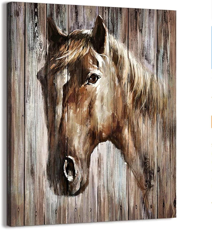 Arte de pared de caballo rústico de granja para decoración de dormitorio, cuadros de lienzo de caballo ilustraciones, para sala de estar, dormitorio, oficina, decoración del hogar