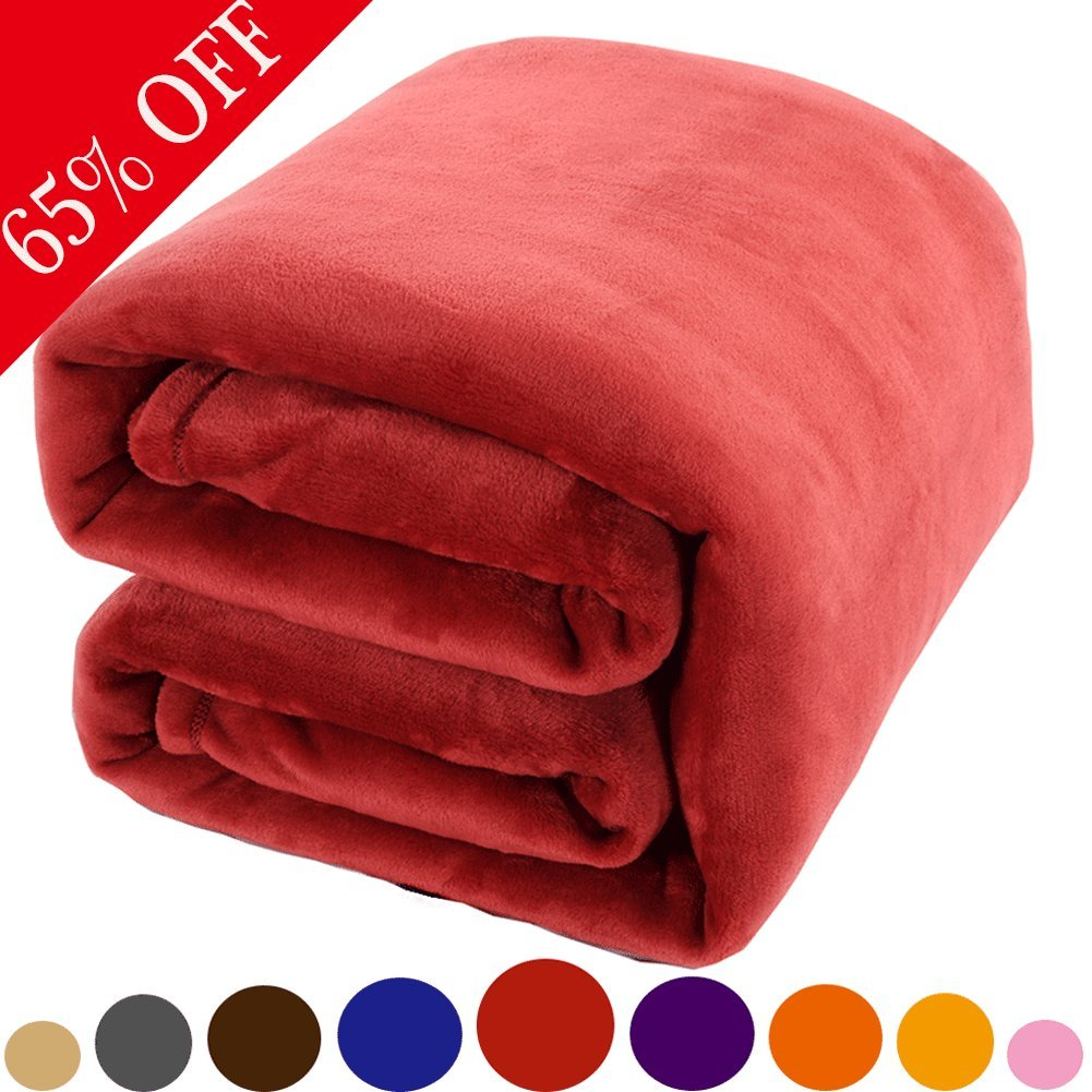 Shilucheng Luxury Fleece Blanket by Super Soft and Warm Fuzzy Plush Lightweight Queen Couch Bed Blankets - Burgundy
