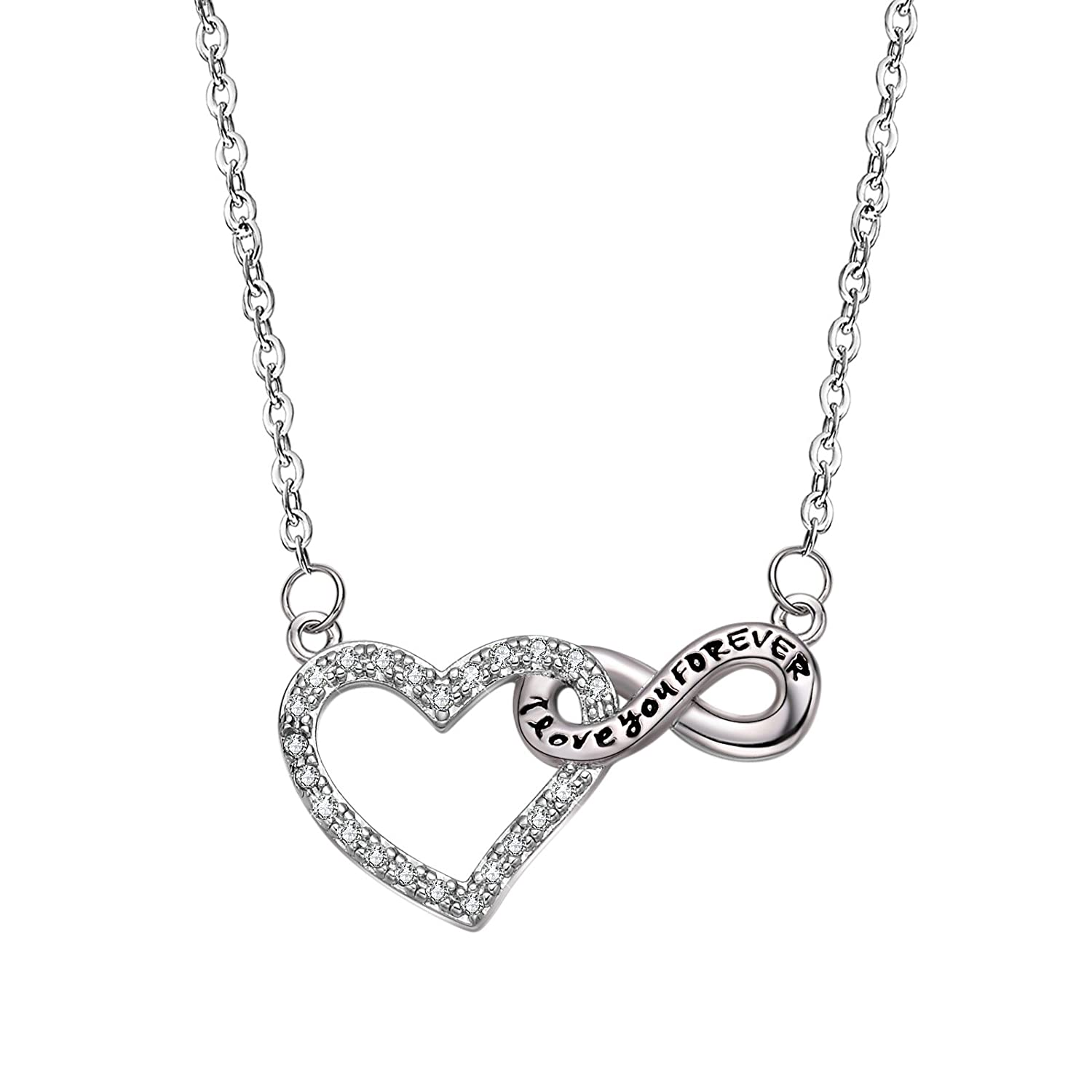 40e4fe4b7 Amazon.com: Anna Crystal Jewellery 925 Sterling Silver Infinity Heart  Promise White Gold Plated Necklace Gift for Women Girls Wife Mom: Jewelry