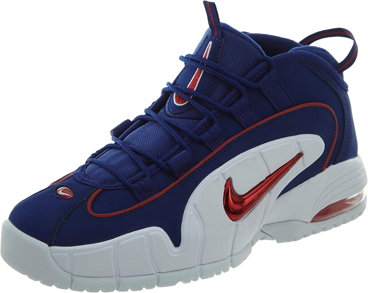 Nike Men's Air Max Penny Red and Blue Leather Sneaker 44(EU) 10(US) Multicolour