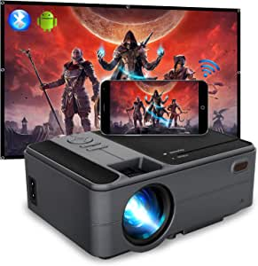 Mini Projector 3600 Lumen LED Smart HD WiFi Video Projector 720P Native Bluetooth HDMI USB, Wireless Home Projector Support 1080P Airplay Miracast for iOS Android Phones Laptop PC DVD TV PS4 Outdoor