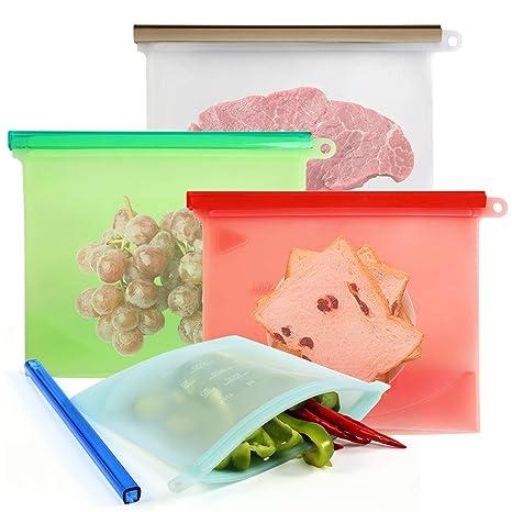 NEWSTYLE Bolsas de Silicona Reutilizables,Bolsa de Almacenamiento Preservación de Alimento Hermética para Fruta Sopa de Verduras Leche Carne (Juego de ...