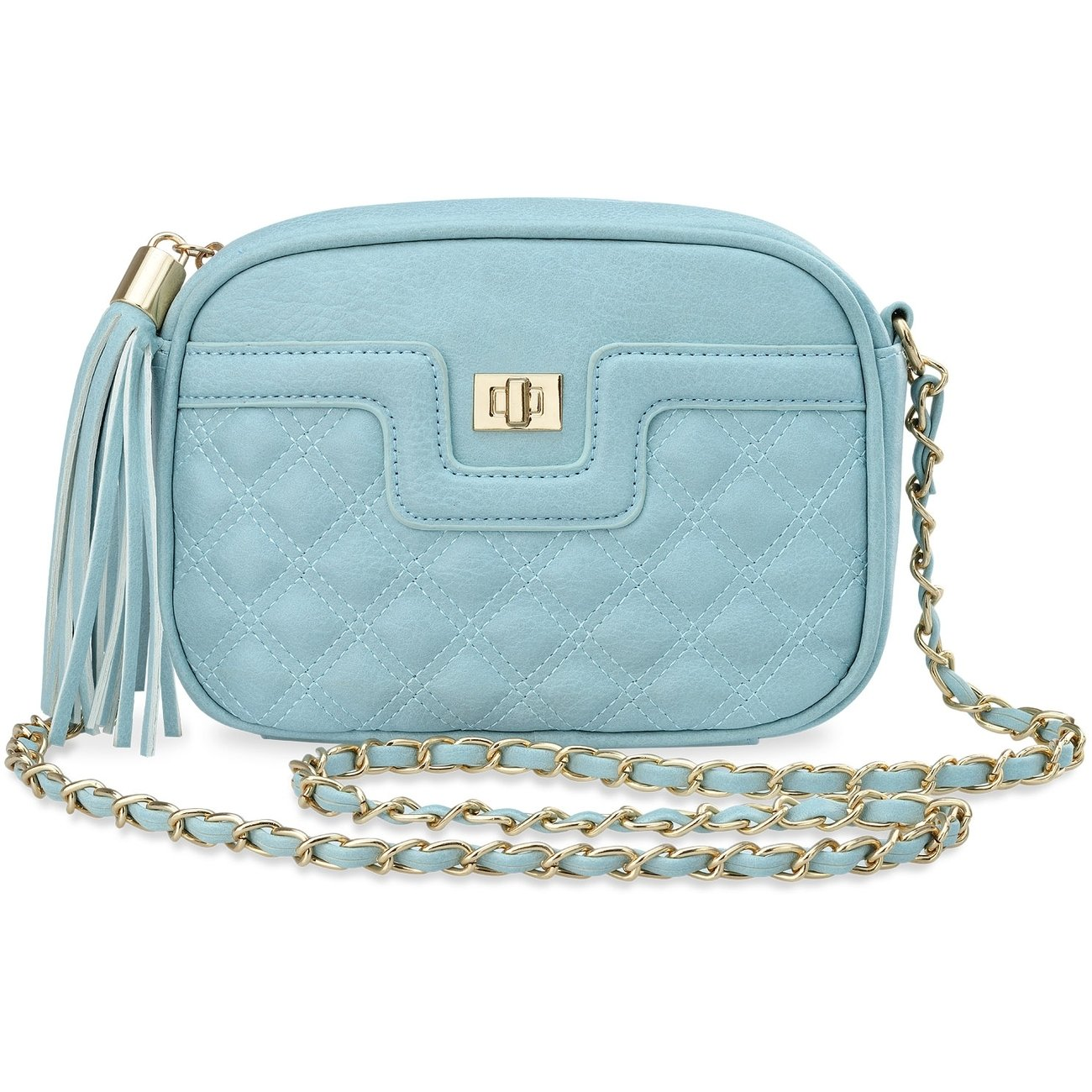 kleine Damentasche mit Reißverschluß Verzierungen Vorhängeschloß himmelblau