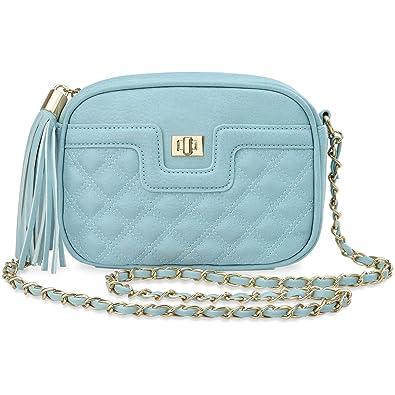 ac203835401e2 Unbekannt gesteppte Tasche Damentaschen elegante Schultertasche mit Fransen  himmelblau
