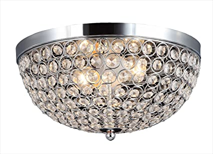 Elegant Designs FM1000-CHR Elipse Crystal 2 Light Ceiling Flush Mount, Chrome