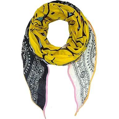 524140e3dd21 PLOMO o pLATA foulard triangulaire noir blanc jaune avec smiley et  gebetstuch