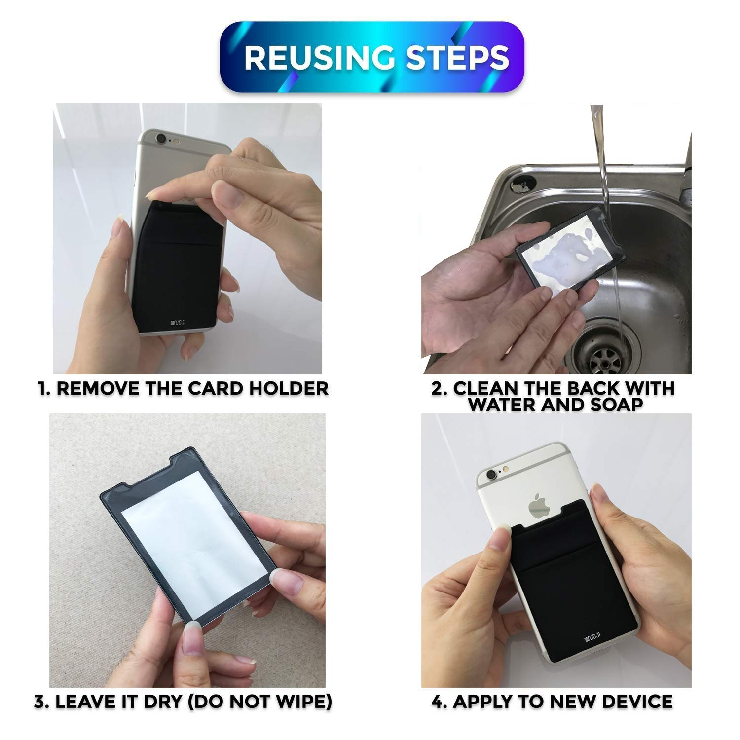 [2pc]RFID Blocking Phone Card Wallet - Double Secure Pocket - Ultra-slim Self Adhesive Credit Card Holder Card Sleeves Phone wallet sticker For All Smartphones(Black2) by WuoJI (Image #7)