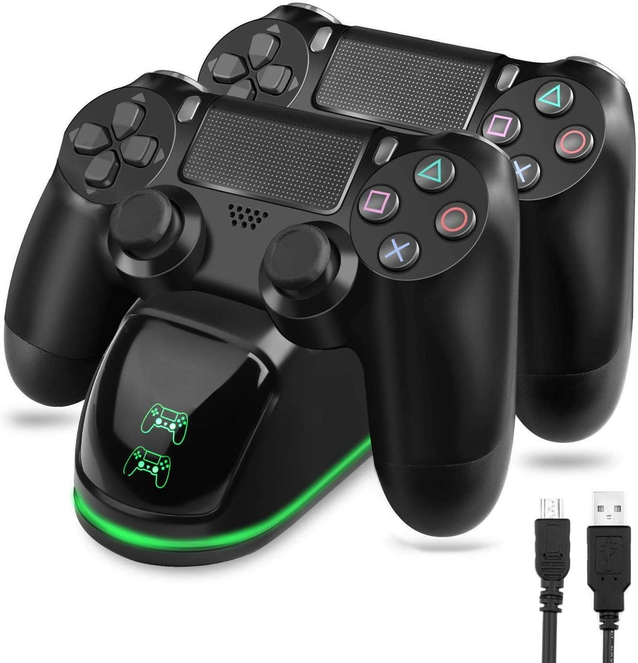 TGJOR PS4 Controller Charger - DualShock 4 PS4 Wireless Controller USB High-Speed Charging Dock, Playstation 4 Charging Station for Sony Playstation4 / PS4 / PS4 Slim / PS4 Pro Wireless Controller