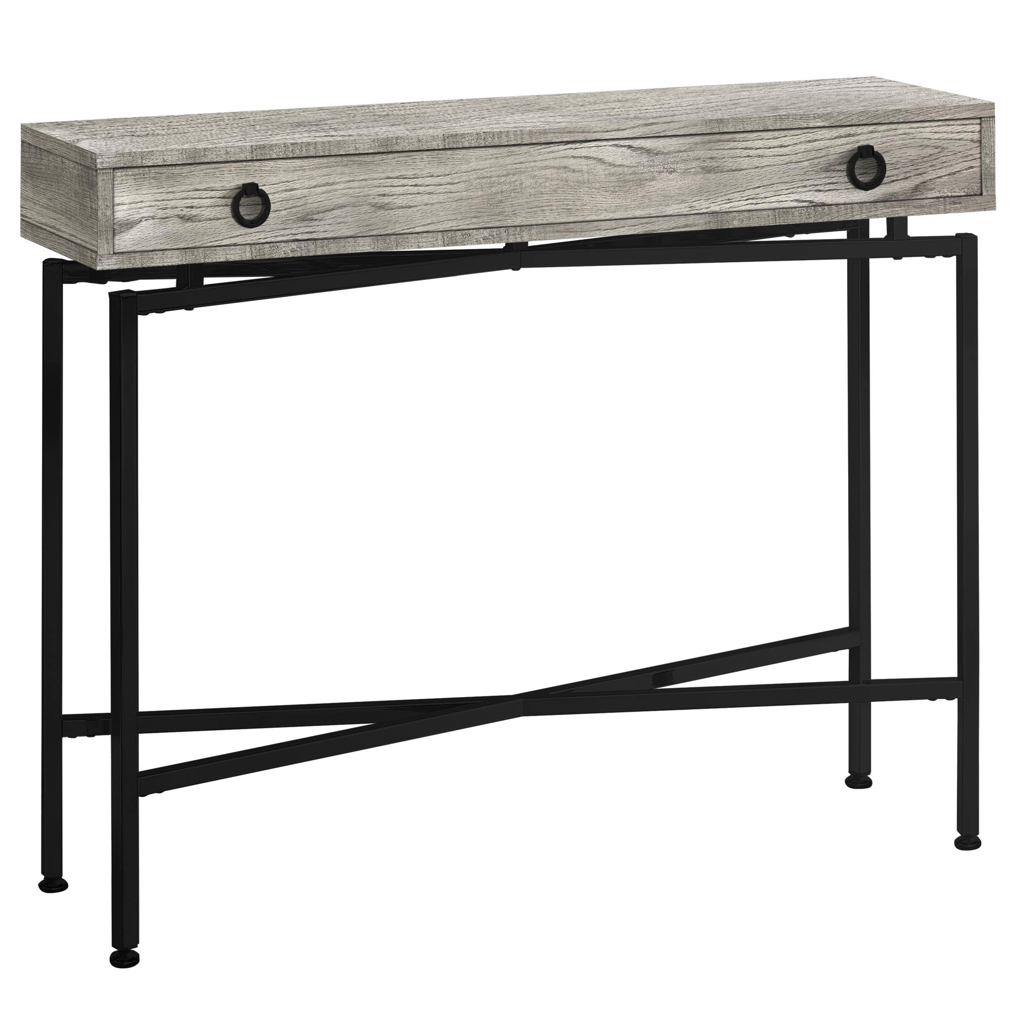 Monarch Specialties I I 3454 Console Sofa Accent Table, 42'' L, Grey Reclaimed Wood-Look/Black Base by Monarch Specialties