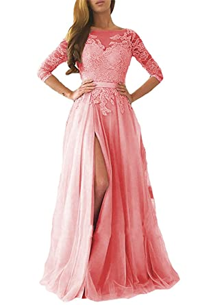 WDH Dress 2018 Dusty Pink Prom Dress With Half Sleeves Side Slit Long Evening Dress 16
