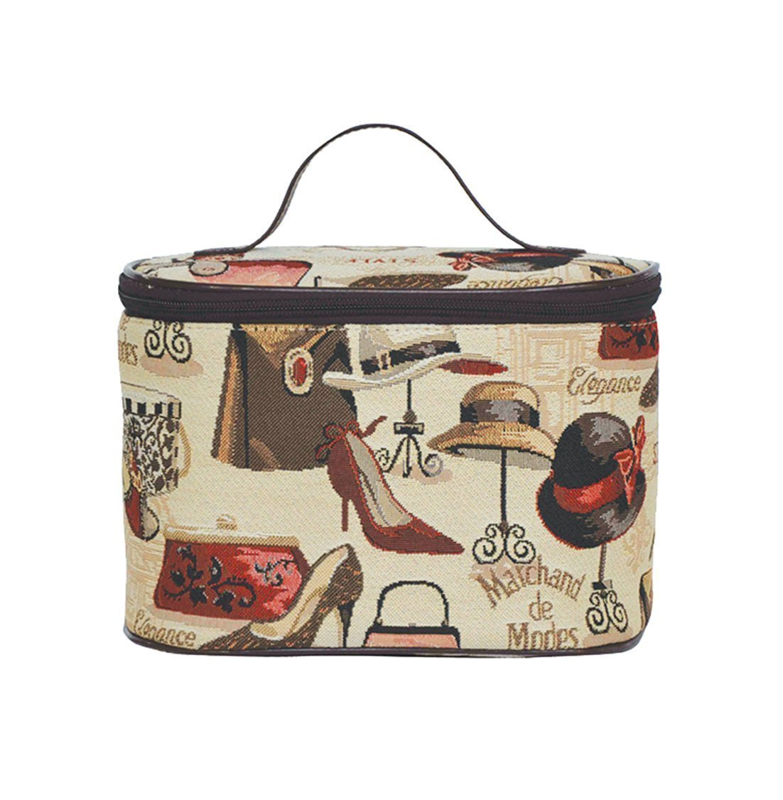Signare Tapestry Round Large Cosmetic Bag Travel Makeup Organiser Case with Handle Holder in Fashion Boutique Design (TOIL-BOU)