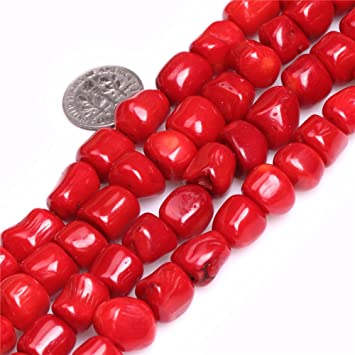 6006bed8c5df5 10x11mm Freeform Red Coral Beads for Jewelry Making Strand 15