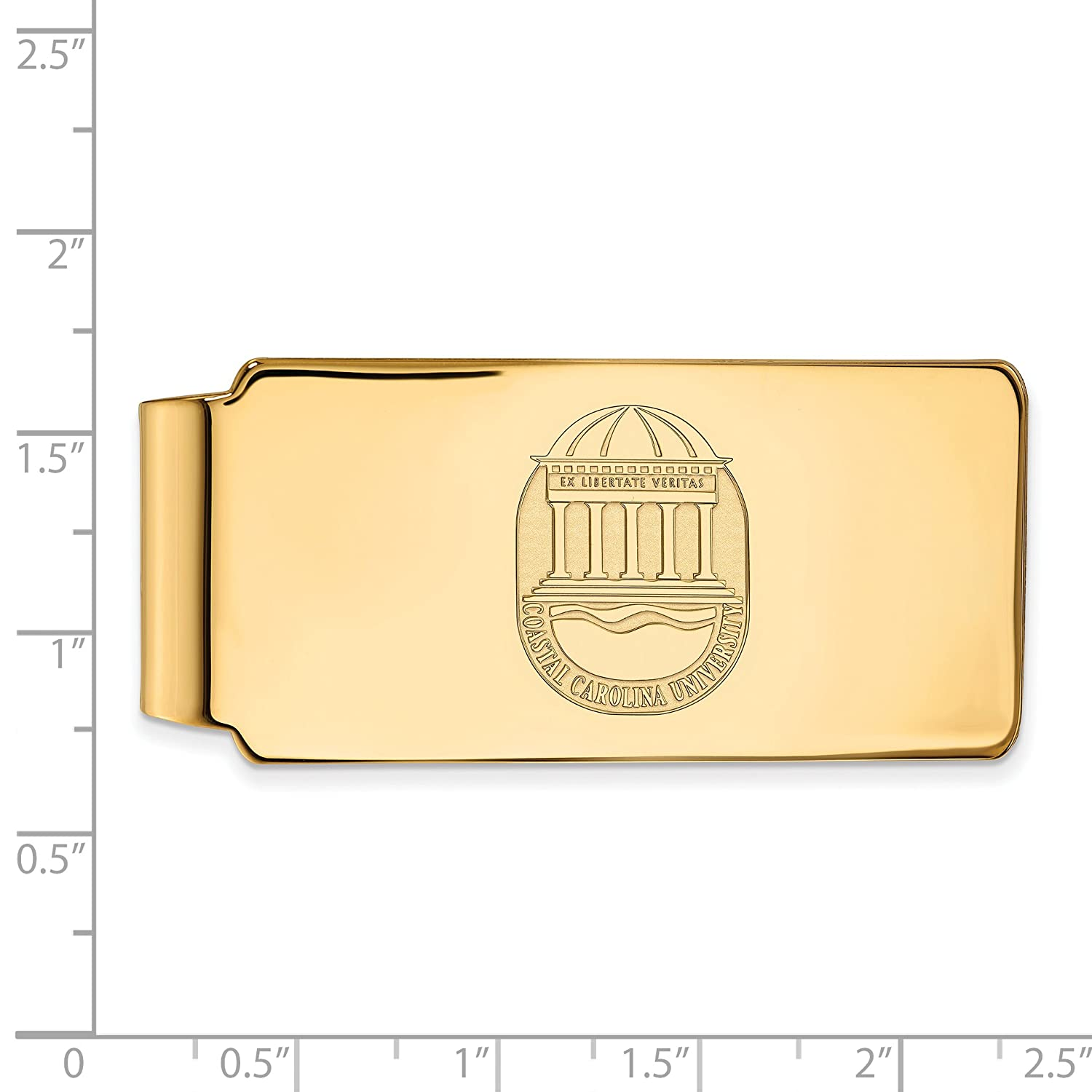 Sterling Silver w// 14K Yellow Gold-Plated LogoArt Official Licensed Collegiate Coastal Carolina University CCU Money Clip Crest