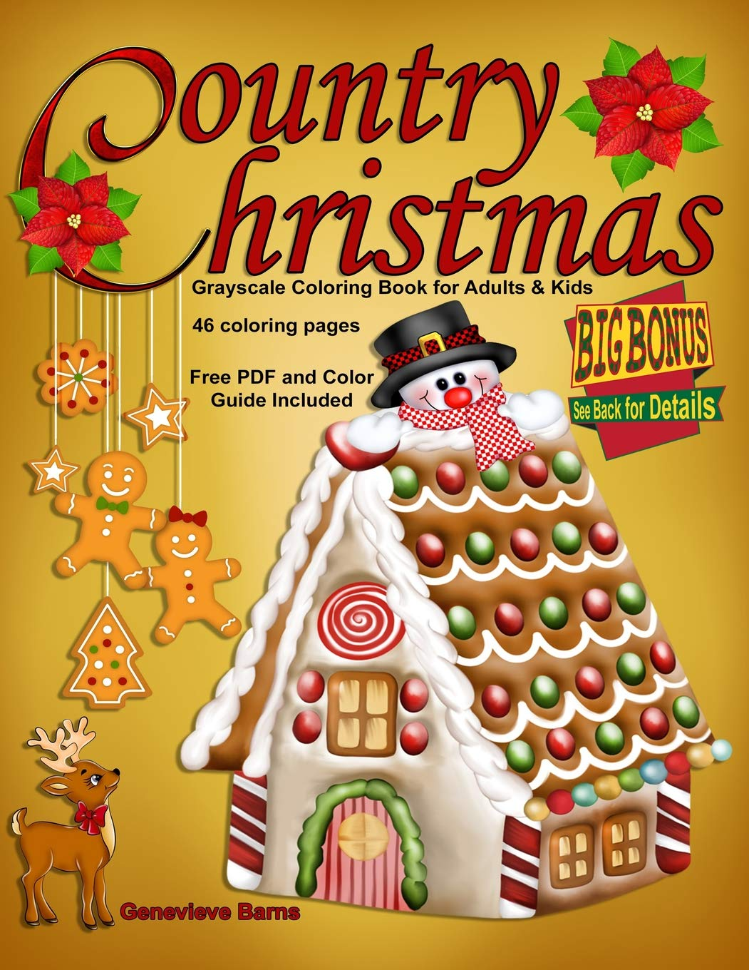 Amazon Com Country Christmas Grayscale Coloring Book For Adults