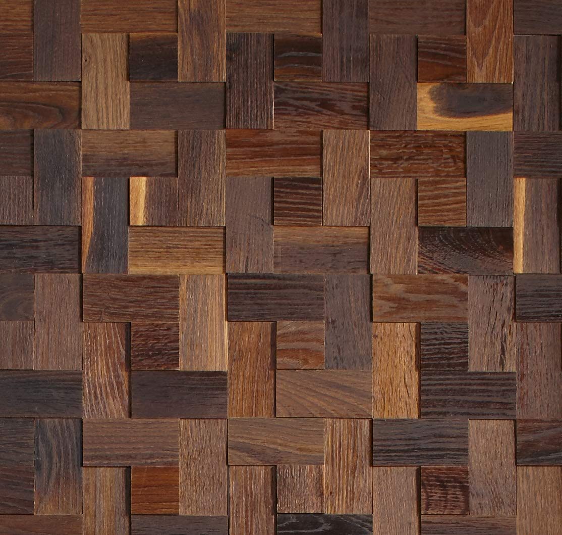 Timberwall - Mosaic Collection - Basketweave Oak Brown - Wood Wall Panels - Solid Wood Planks - Glued Application - 5.5 Sq Ft