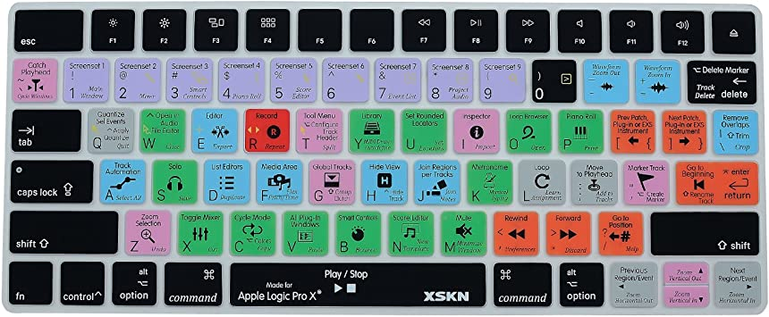 XSKN Apple Magic Keyboard Cover Logic Pro X Inglés Skin para teclado, accesos directos, funcional teclas teclado Protector de pantalla para Magic ...