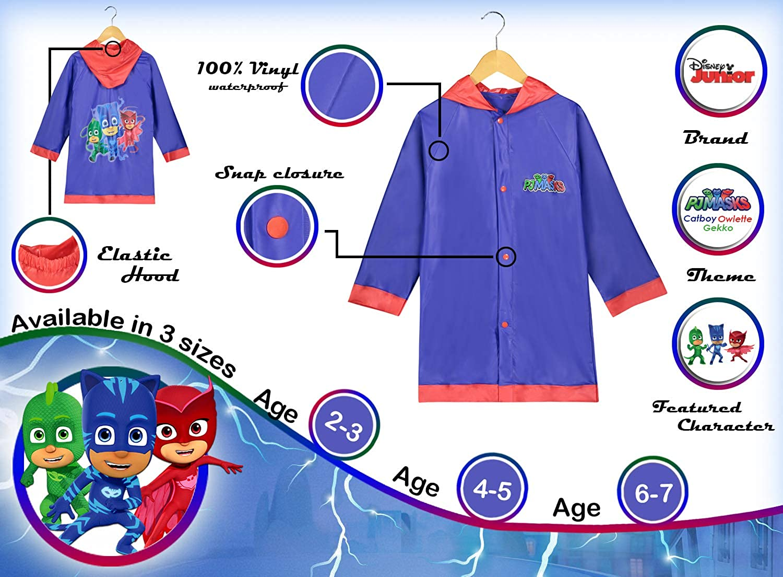 Toddler and Little Kid PJ Masks Disney Boys Blue and Red Rain Slicker