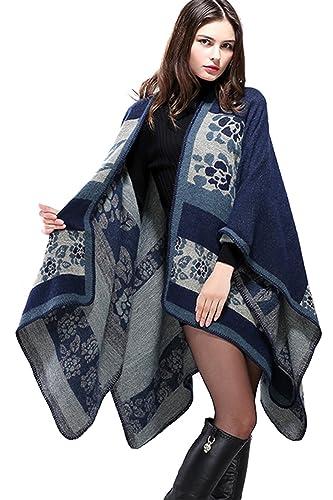Inverno reversibile donna oversize coperta Poncho Cape Scialle Sciarpe