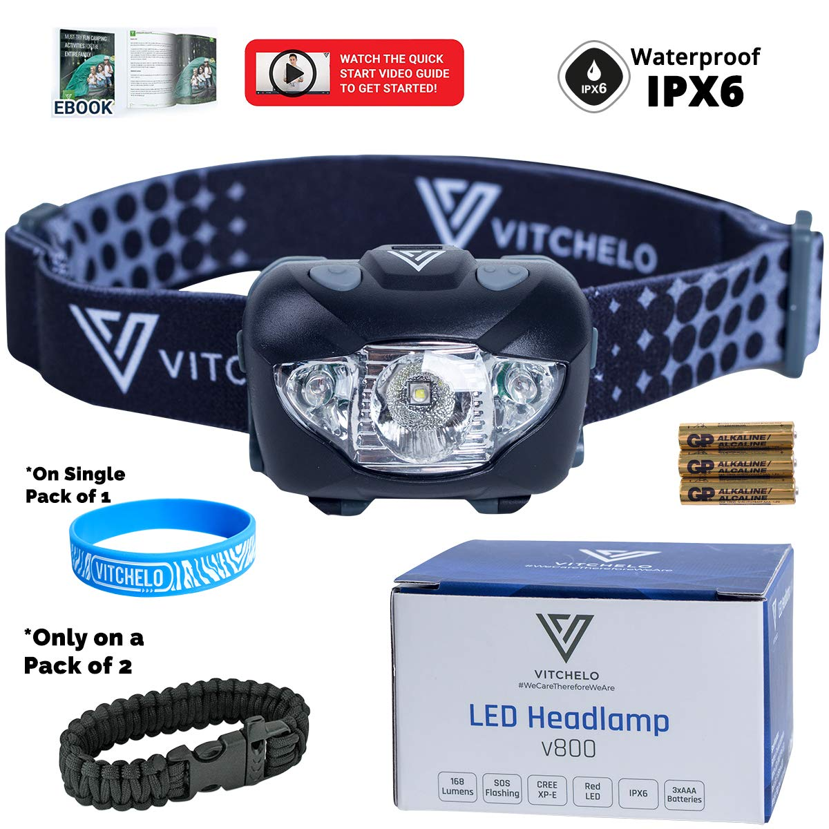 Poderosa Linterna de Cabeza con Correa Ajustable Resistente al Agua y F/ácil de Usar VITCHELO V800 Linterna Frontal LED de Alta Potencia Ideal para Acampada y Senderismo
