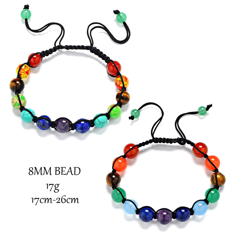 Cyose 8MM Beads Healing Balance Reiki Prayer Stone Beads Yoga Strand Bracelets Adjustable Rope Bracelet Men Women