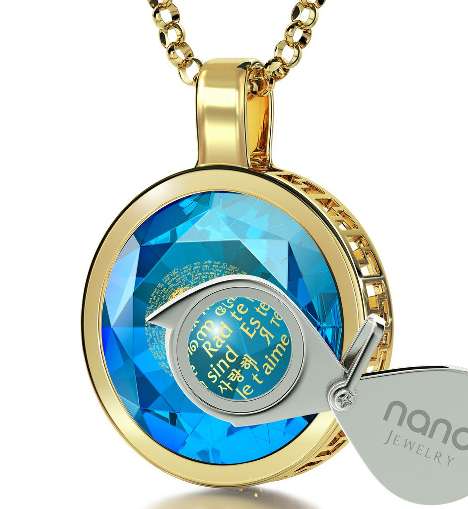 Gold Plated I Love You Necklace 24k Gold Inscribed in 120 Languages on Blue Cubic Zirconia Pendant, 18''