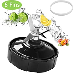 Ninja Blender Replacement Parts Vodche Ninja Bottom Blade 6 Fins Replacement Extractor Blade for Nutri Ninja Blender Blade Assembly Fits Nutri Ninja Auto-iQ BL450-70 BL451-70 BL482-70
