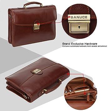 8565216db2 Amazon.com  Banuce Full Grain Italian Leather Briefcase for Men Business  Lock Attache Case 14 inch Laptop Messenger Bag  Banuce