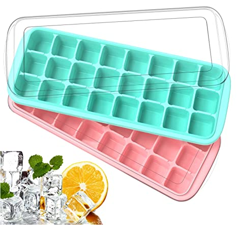YHmall 2 Stück Silikon Eiswürfelform mit Deckel, Wiederverwendbare Eiswürfel für den Gefrierschrank perfekten Befüllen des Ic